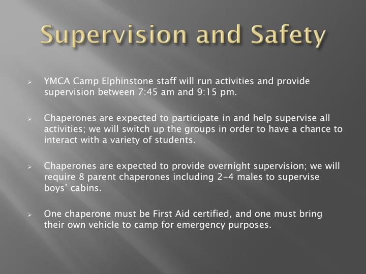 Supervision and Safety