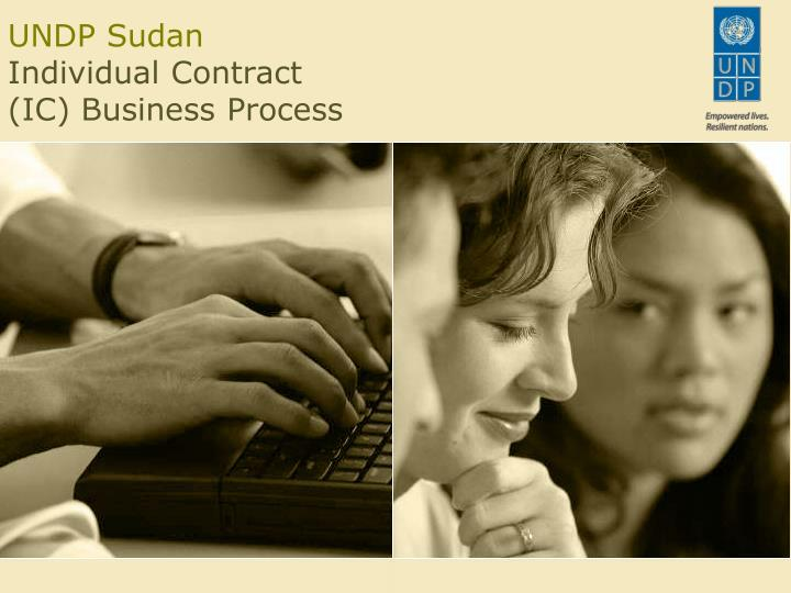 Undp sudan individual contract ic business process