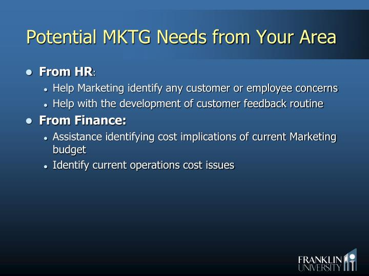 Potential MKTG Needs from Your Area