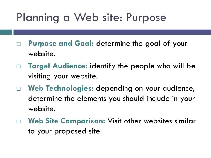 Planning a Web site: Purpose