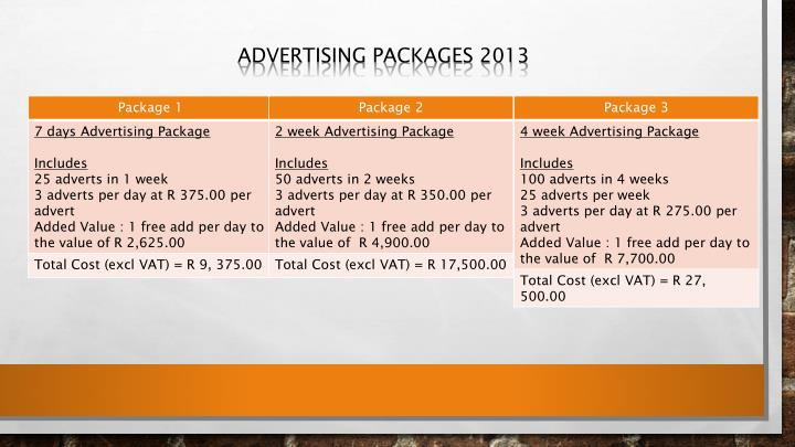 Advertising packages 2013