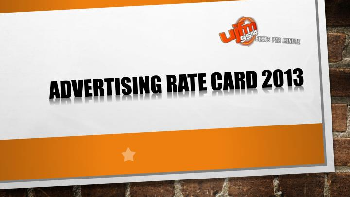 Advertising rate card 2013