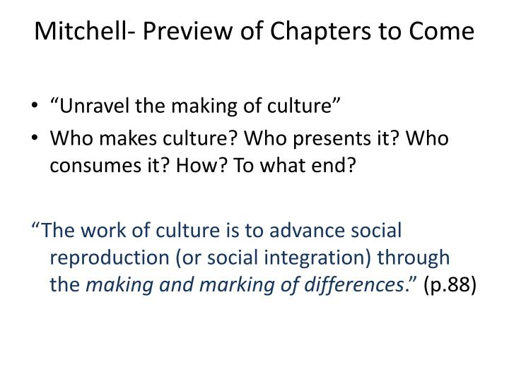Mitchell- Preview of Chapters to Come