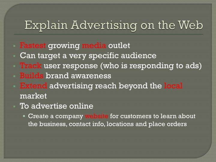 Explain Advertising on the Web