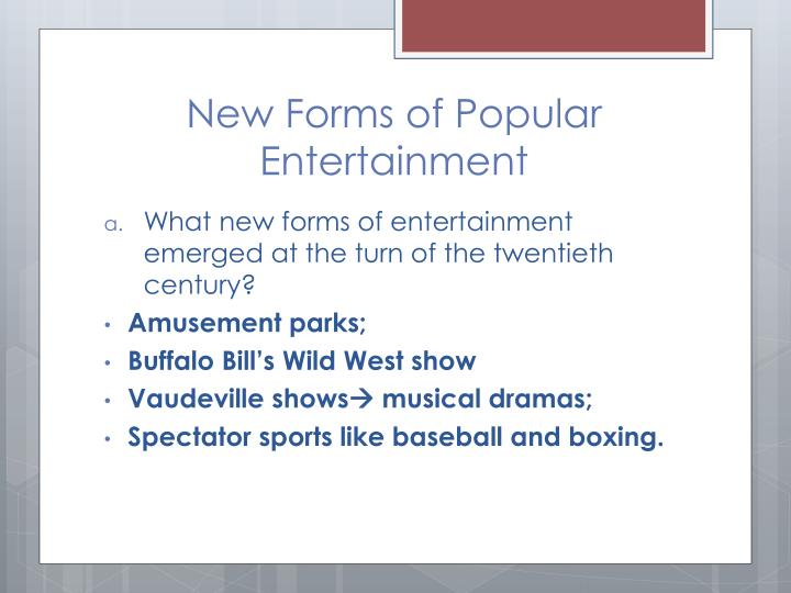 New Forms of Popular Entertainment