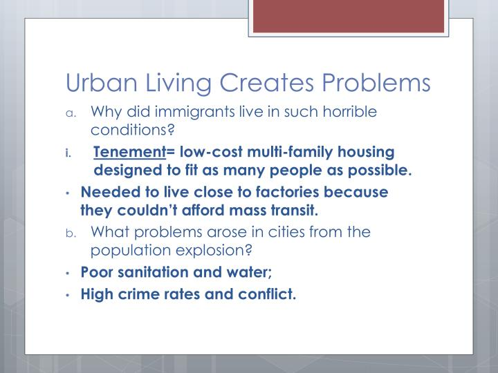 Urban Living Creates Problems
