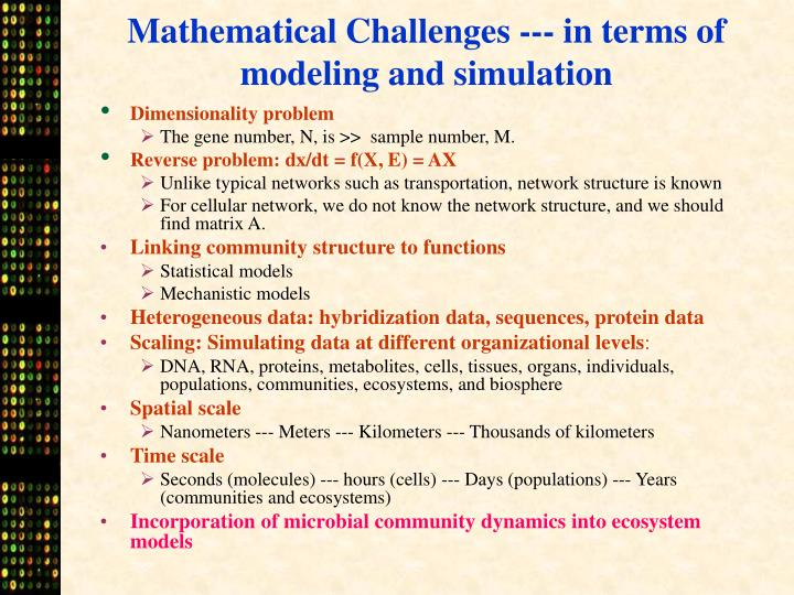 Mathematical Challenges --- in terms of modeling and simulation
