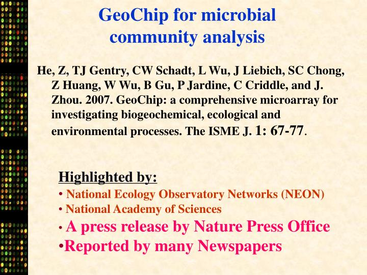 GeoChip for microbial community analysis
