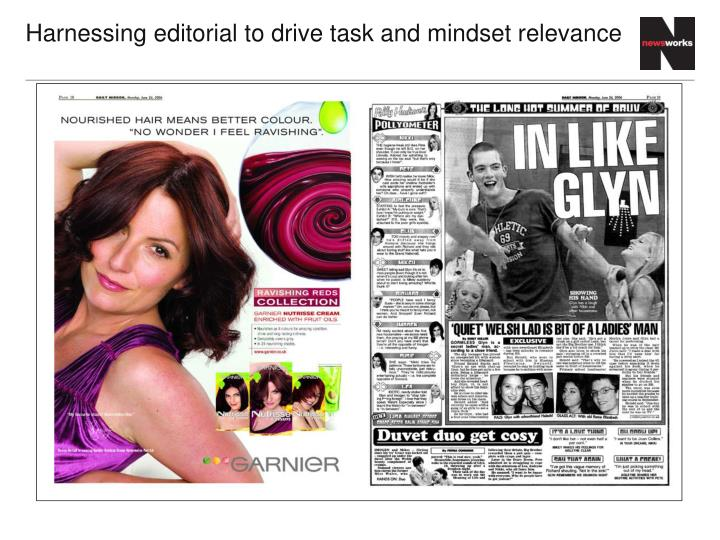 Harnessing editorial to drive task and mindset