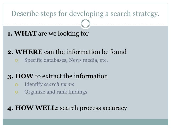 Describe steps for developing a search strategy.