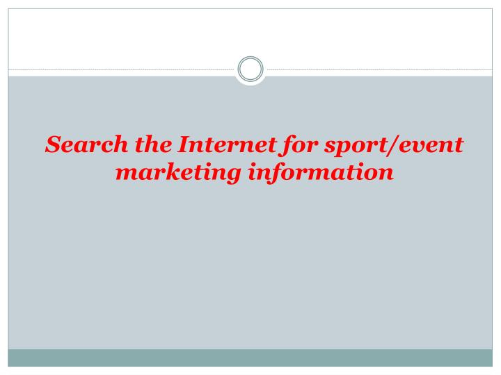 Search the internet for sport event marketing information