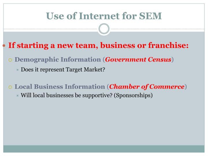 Use of Internet for SEM