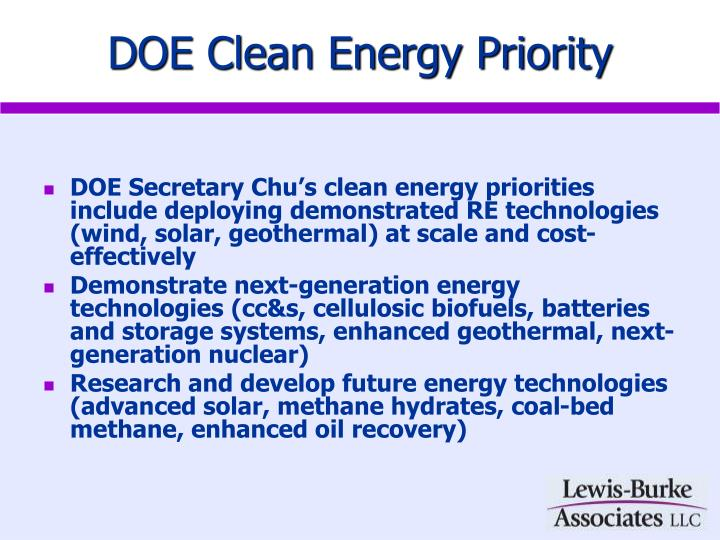 DOE Clean Energy Priority