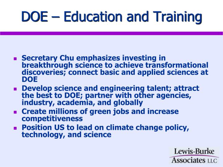 DOE – Education and Training