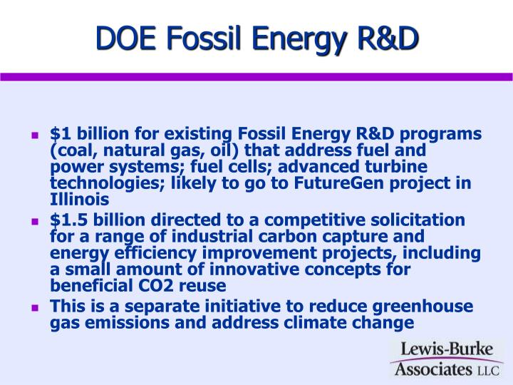 DOE Fossil Energy R&D