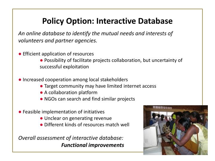 Policy Option: Interactive Database