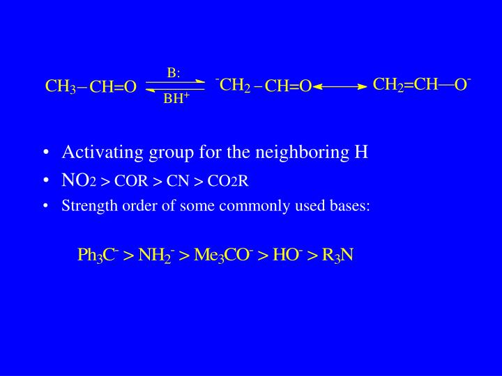 Activating group for the neighboring H