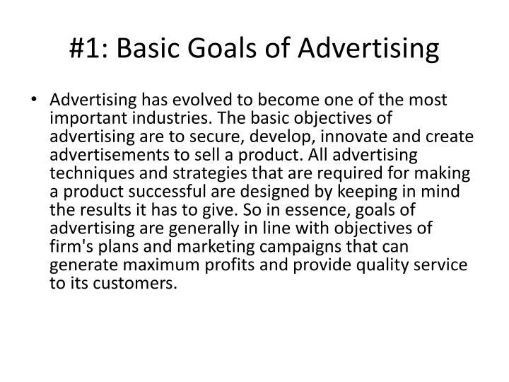 1 basic goals of advertising