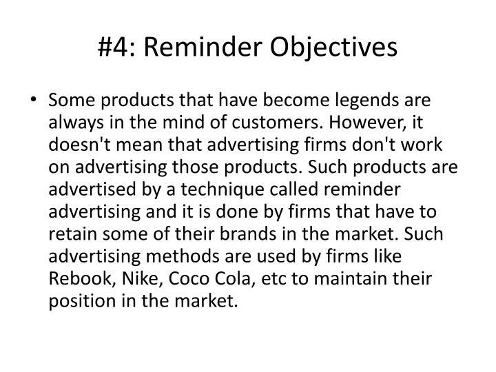 #4: Reminder Objectives