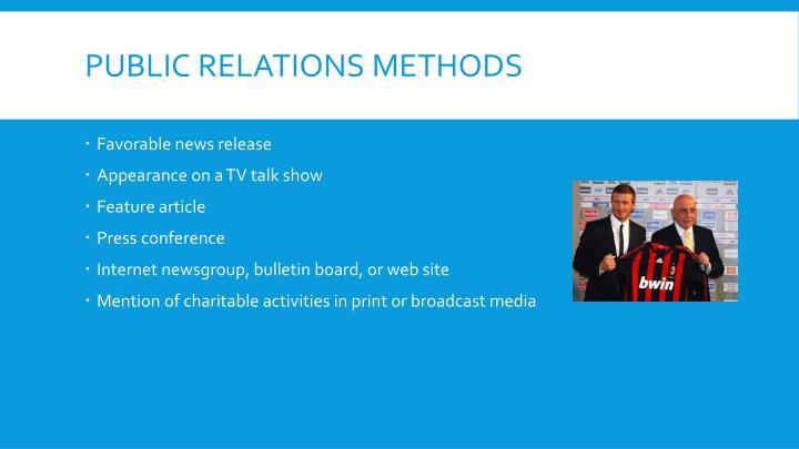 Public Relations Methods