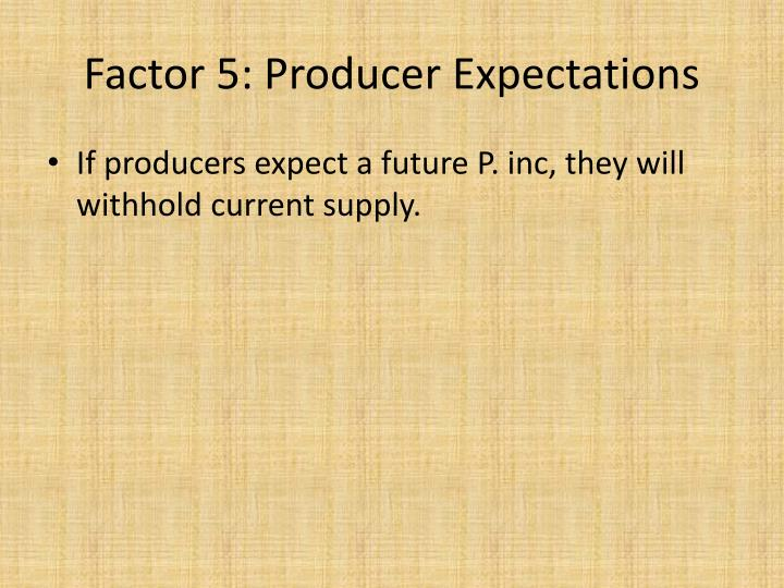 Factor 5: Producer Expectations