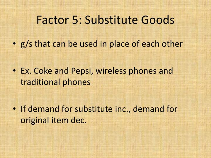 Factor 5: Substitute Goods