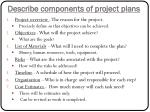 describe components of project plans