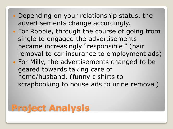 Depending on your relationship status, the advertisements change accordingly.