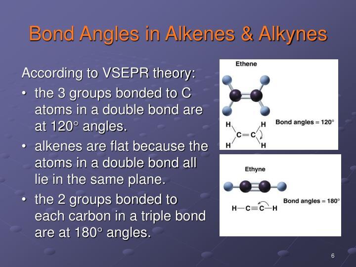 Bond Angles in Alkenes & Alkynes