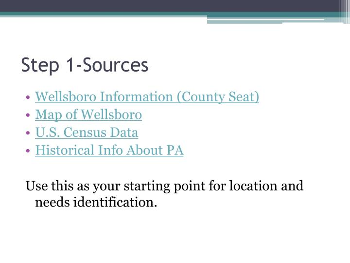 Step 1-Sources