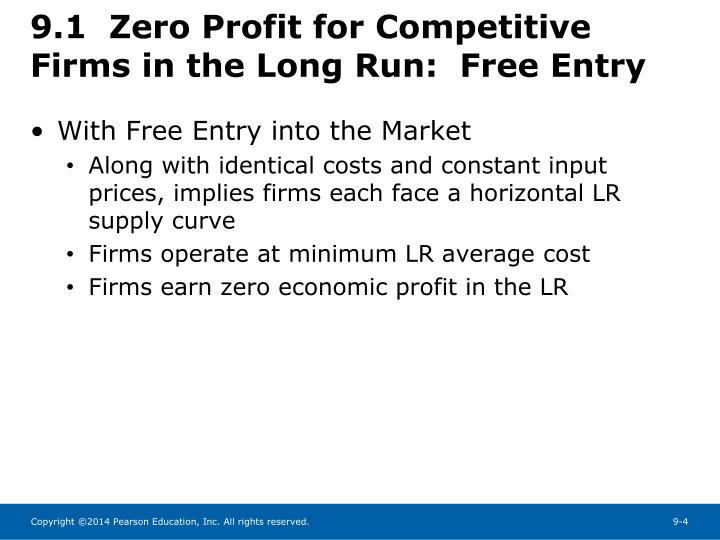 9.1  Zero Profit for Competitive Firms in the Long Run:  Free Entry