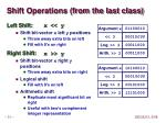 shift operations from the last class