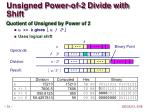 unsigned power of 2 divide with shift