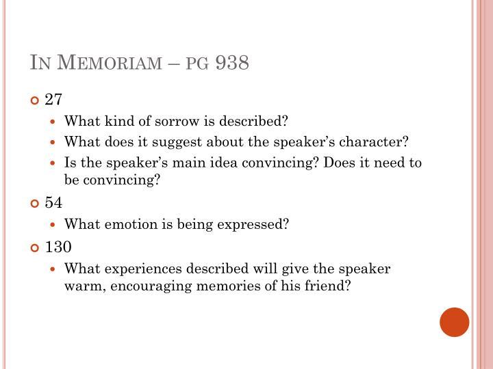 In Memoriam – pg 938