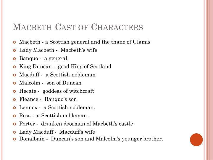 Macbeth Cast of Characters