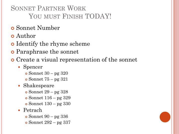 Sonnet Partner Work