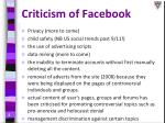 criticism of facebook