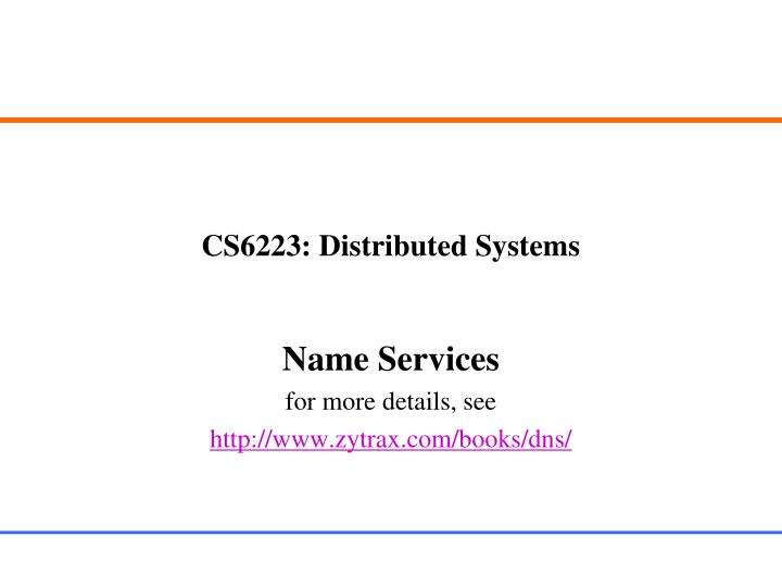 cs6223 distributed systems n.