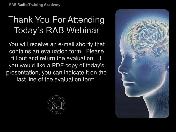 Thank You For Attending Today's RAB Webinar