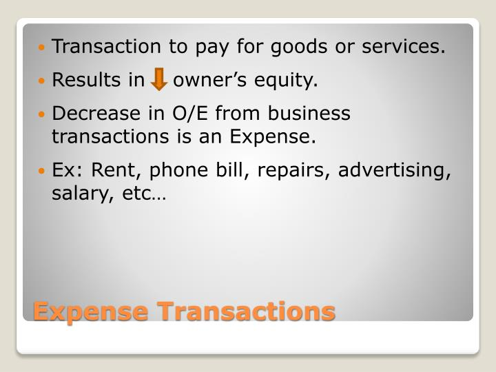 Transaction to pay for goods or services.