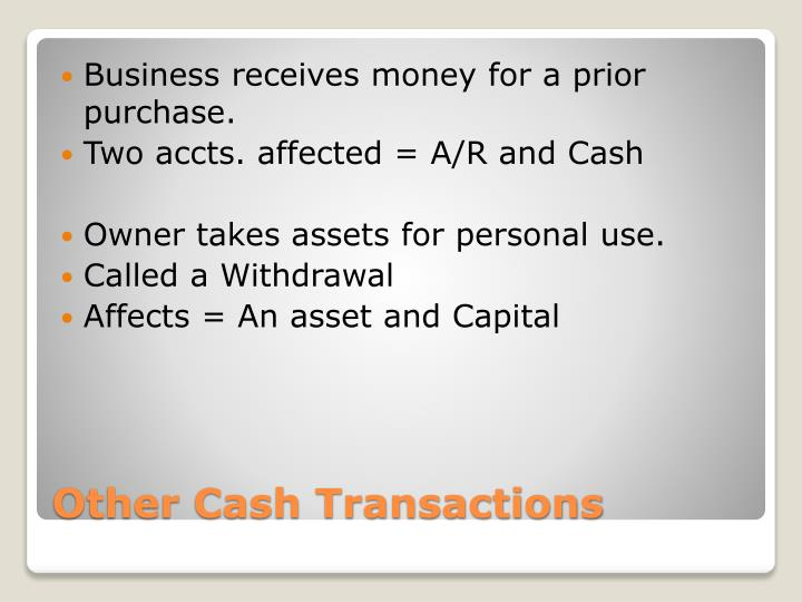 Business receives money for a prior purchase.