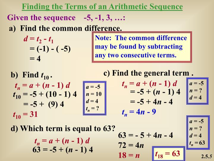 Finding the Terms of an Arithmetic Sequence
