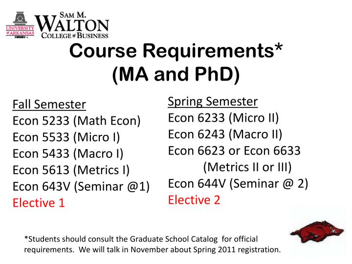 Course requirements ma and phd