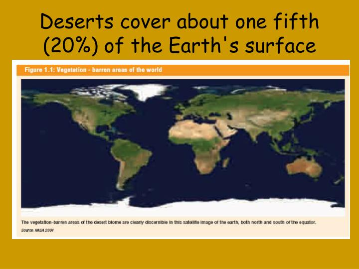 Deserts cover about one fifth 20 of the earth s surface