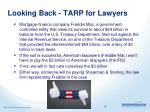 looking back tarp for lawyers