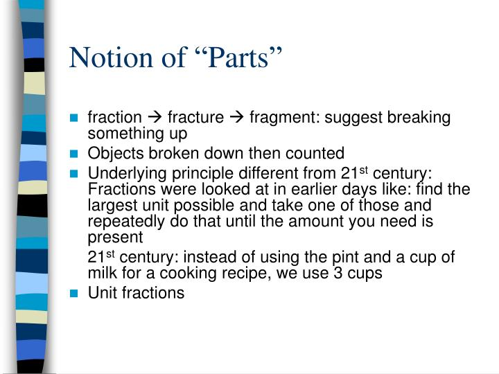 """Notion of """"Parts"""""""