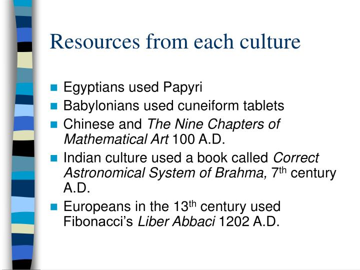 Resources from each culture