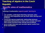 teaching of algebra in the czech republic3