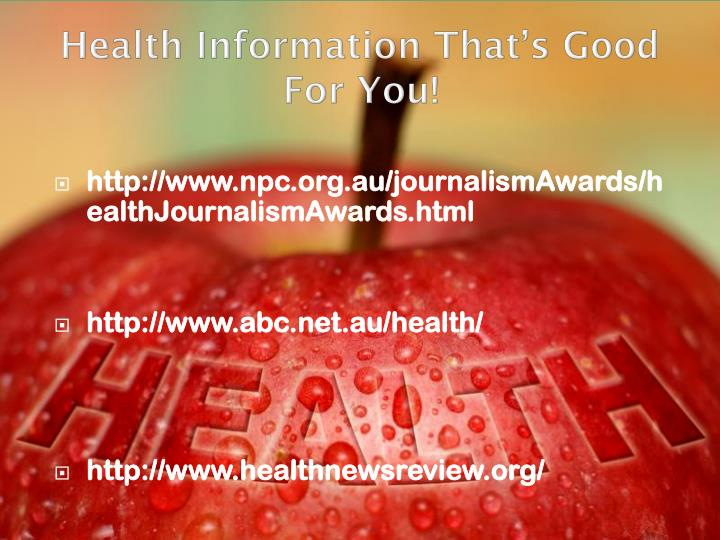 Health Information That's Good For You!
