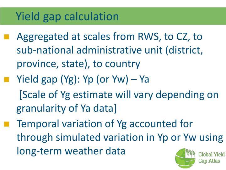 Yield gap calculation